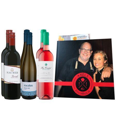 "Weinpaket ""Axels Kochbuch"" beinhaltet: Weingut Mohr Riesling 2020 trocken, Rheingau, 2 Fl Bodegas Mas Comtal 2020, DO Penedès, 2 Fl.Weingut Maurer Zweigelt 2019, DAX plus Kochbuch ""Axels Kochbuch"" mit 37 Rezepten"