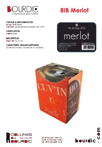 Les Collines du Bourdic 5l BIB Merlot IGP Pays d'Oc Wein Frankreich trocken