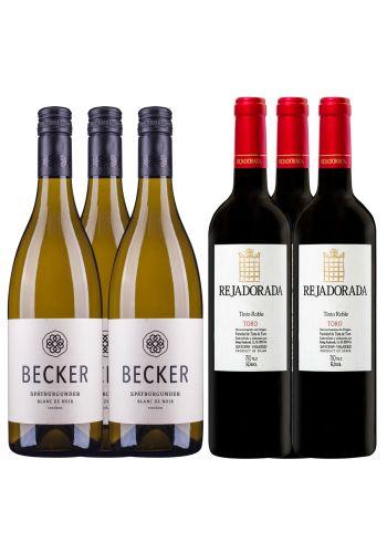 Angebot 3 FL. Becker Blanc de Noir / 3 FL. Rejadorada Tinto Roble
